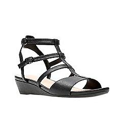 3a2e67ae952 Clarks - Black nubuck  Parram Spice  mid wedge heel peep toe sandals