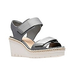 Clarks - Grey leather 'Palm Shine' mid wedge heel peep toe sandals