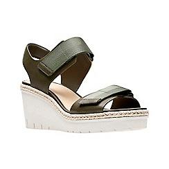 Clarks - Khaki leather 'Palm Shine' mid wedge heel peep toe sandals