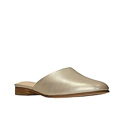 Clarks - Gold leather 'Pure Blush' mules
