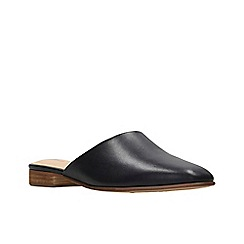 Clarks - Black leather 'Pure Blush' mules