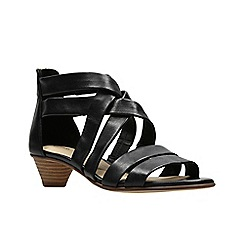 Clarks - Black leather \u0027Mena Silk\u0027 peep toe sandals