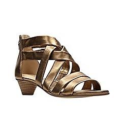 Clarks - Metallic leather 'Mena Silk' peep toe sandals