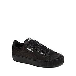 Puma - Black 'Vikky' mid flatform heel trainers