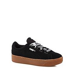 Puma - Black suede 'Vikky' mid flatform heel trainers