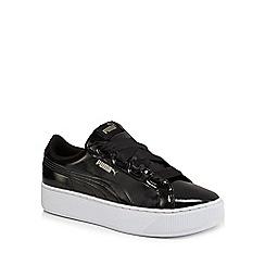 Puma - Black patent 'Vikky' mid flatform heel trainers