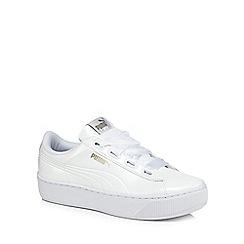 Puma - White patent 'Vikky' mid flatform heel trainers
