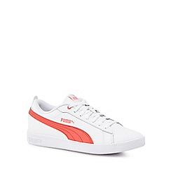 Puma - White and coral 'Smash' trainers