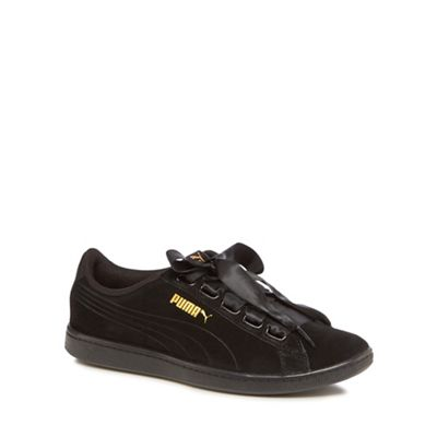 Puma - Black suede 'Vikky Ribbon' trainers