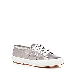 Superga - Grey metallic 'Cotmetu' lace up trainers