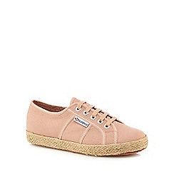Superga - Peach 'Cotropew' lace up trainers