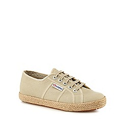 Superga - Taupe 'Cotropew' lace up trainers