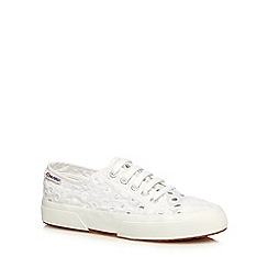 Superga - White embroidered lace up trainers