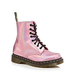 Dr Martens - Pink leather 'Pascal Iced Metallic' lace up boots
