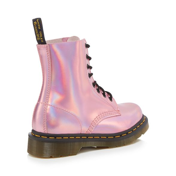 lace 'Pascal boots leather Pink Iced Metallic' Dr up Martens w4ZBxq4T