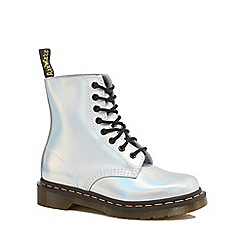 Dr Martens - Silver leather 'Pascal Iced Metallic' lace up boots