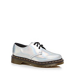 Dr Martens - Silver leather '1461 Iced Metallic' lace up shoes