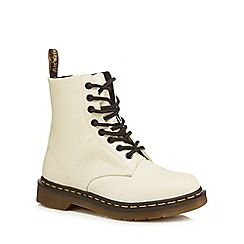 Dr Martens - White glitter 'Pascal' lace up boots