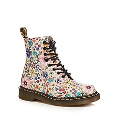 Dr Martens - Multi-coloured leather 'Pascal' floral print lace up boots