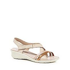 ECCO - Light pink leather 'Felicia' mid wedge heel sandals