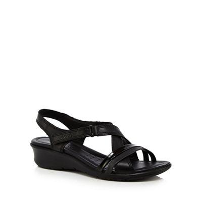 Ecco - Black leather 'Felicia' mid wedge heel sandals