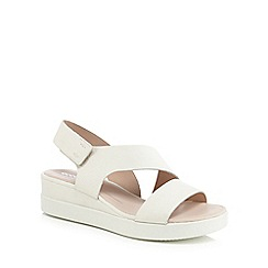 ECCO - White leather 'Touch Sandal Plateau' mid wedge heel sandals