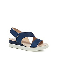 ECCO - Navy leather 'Touch Sandal Plateau' mid wedge heel sandals