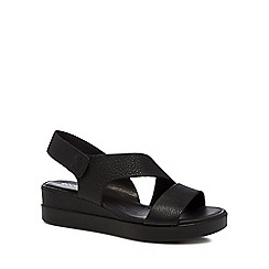 ECCO - Black leather 'Touch Sandal Plateau' mid wedge heel sandals