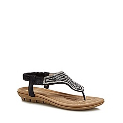 Lotus - Black diamante 'Marieta' sandals