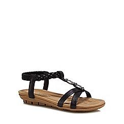Lotus - Black metallic 'Roverto' sandals