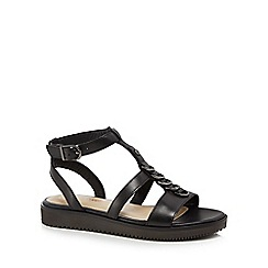 Hush Puppies - Black leather 'Briard' ankle strap sandals