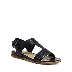 Hush Puppies - Black leather 'Dalmatian' T-bar sandals