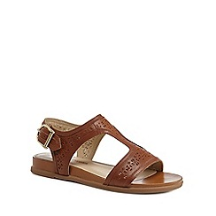 Hush Puppies - Tan leather 'Dalmatian' T-bar sandals