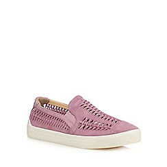 Hush Puppies - Pink suede 'Gabbie Woven' slip on trainers