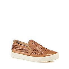 Hush Puppies - Tan leather 'Gabbie Woven' slip on trainers