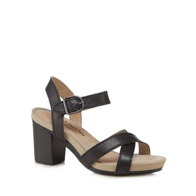 Hush Puppies - Black leather 'Mariska' high block heel ankle strap sandals
