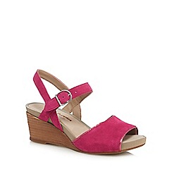 Hush Puppies - Pink suede 'Cassale' mid wedge heel ankle strap sandals