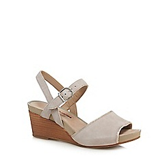 Hush Puppies - Light grey suede 'Cassale' mid wedge heel ankle strap sandals