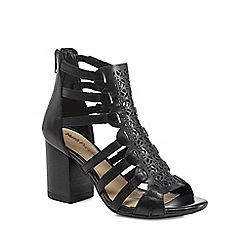 Hush Puppies - Black leather 'Malia' high block heel peep toe sandals