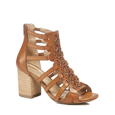 Hush Puppies Tan leather 'Malia' high block heel peep toe sandals |  Debenhams