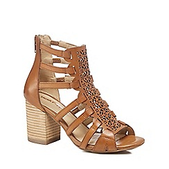 Hush Puppies - Tan leather 'Malia' high block heel peep toe sandals