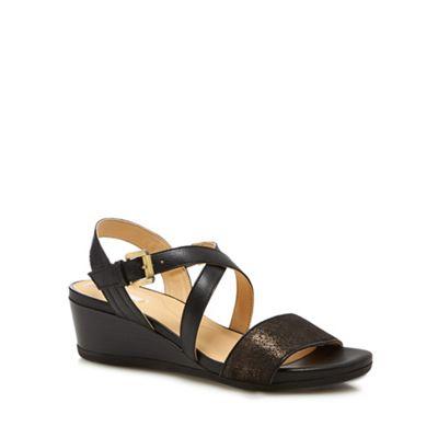 Geox - Black 'Marykarmen' mid wedge heel ankle strap sandals