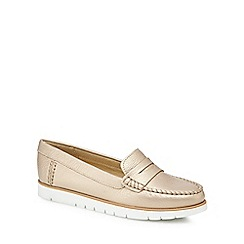 Geox - Gold leather 'D Kookean' loafers