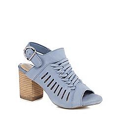 Hush Puppies - Blue leather 'Sidra Malia' high block heel mules