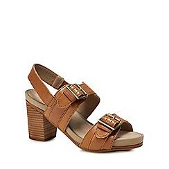 Hush Puppies - Tan leather 'Leonie Mariska' mid block heel sandals