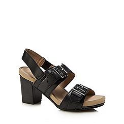 Hush Puppies - Black leather 'Leonie Mariska' mid block heel sandals
