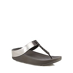 FitFlop - Grey glitter 'Fino' mid flatform heel flip flops