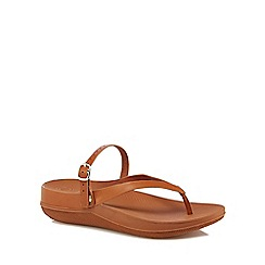 FitFlop - Tan leather flip flops