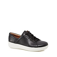 FitFlop - Black leather 'Sporty II Lace' platform heel trainers