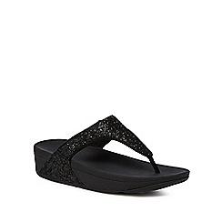 FitFlop - Black glitter 'Glitterball' mid flatform heel flip flops